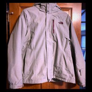 North Face XL 3-in-1 grey/purple winter jacket